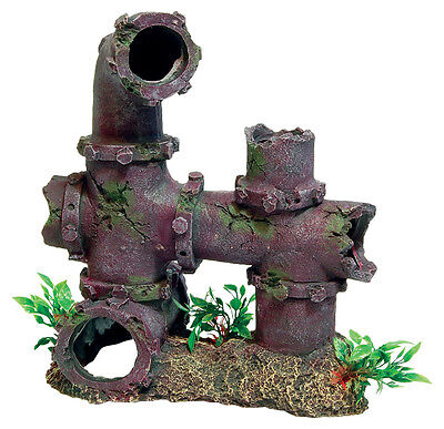 Sunken Pipework with Plants Aquarium Ornament Fish Tank Decoration
