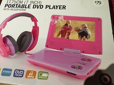 "7"" Portable DVD Player Swivel screen USB reader &Headphones Pink ScuffMarksOnLid"