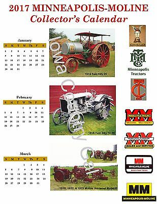 """New 2017 Minneapolis-Moline Collector Laminated Calendar Size 8.5"""" X 11"""" 2 Sides"""