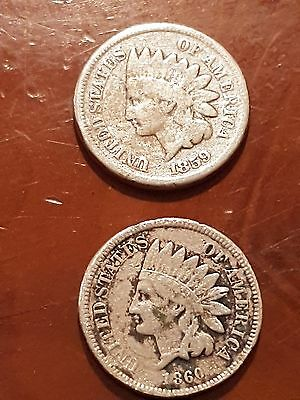 2 U S A coin 1959/1960 one cent
