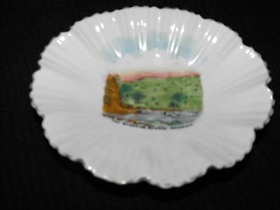 Crested Ware Willow dish shell shape design The Stepping Stones Dovedale
