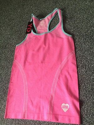BNWT girls active running vest top, bright pink aged 13 years, 158 cm