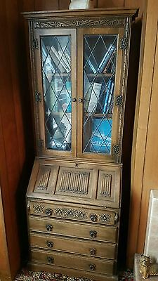 Vintage tall antique bureau glass doors  shelves drop down writing area drawers