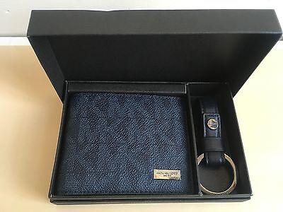 Nib Michael Kors Mens Slim Billfold Wallet And Keychain Set In Baltic Blue