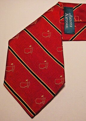 AUGUSTA NATIONAL Silk MASTERS Logo RED Gold BLUE Striped Neck TIE Made in USA