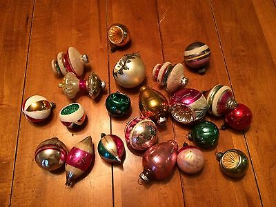 20 Vintage Christmas Ornaments Assorted Colors & Shapes Lantern, Indented, Etc