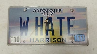 """2011 MISSISSIPPI Harrison County """"Why Hate"""" License Plate W HATE"""