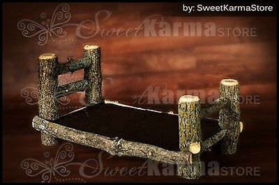 Newborn Baby Real Wood Log Bed Doll Furniture Photo Portrait Photography Prop