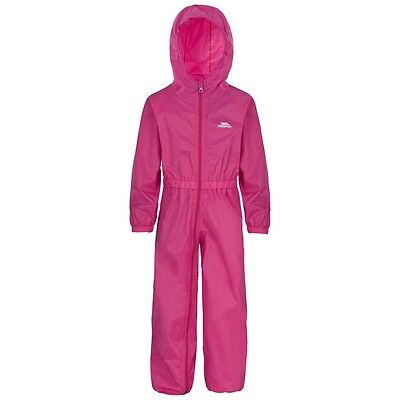 TRESPASS GIRLS PINK WATERPROOF RAIN SUIT all in one wet weather age 5-6 year new