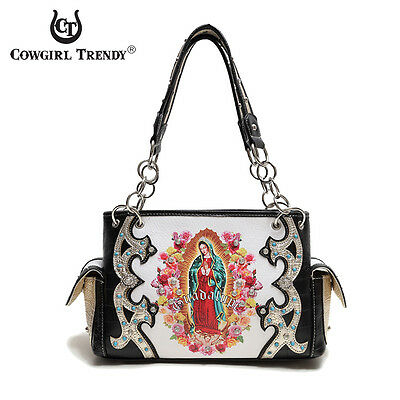 Black 'Lady Guadalupe / Virgin Mary' Western Handbag - Women's Premium Purses