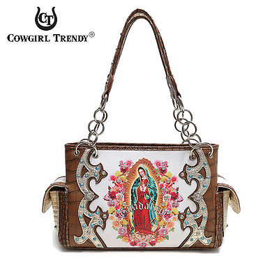 Brown 'Lady Guadalupe / Virgin Mary' Western Handbag - Women's Premium Purses