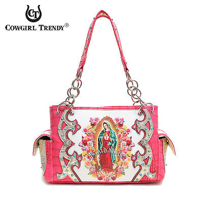 Fuchsia 'Lady Guadalupe / Virgin Mary' Western Handbag - Women's Premium Purses
