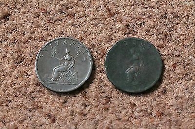 Two Copper Halfpenny Coins 1806 And 1807 George Iii