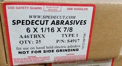 "6""x1/16""x7/8"" (45 PACK) Spedecut Abrasives Cut-Off Wheel P/N S4917 A46TBXX T1"