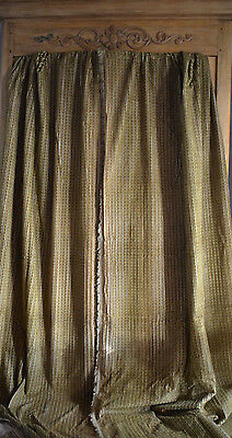 Pair of  antique French heavy striped velvet curtains, satin linings, hand sewn.
