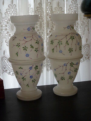 "Pair of 13"" Victorian Hand Painted Floral Enamel Bristol Glass Vases"