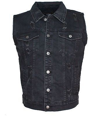 Men's Denim Vest Biker Jacket Distress Washed Blk Denim.