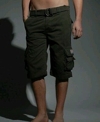 Superdry Classic Cargo Shorts - Army Green (Size Small)
