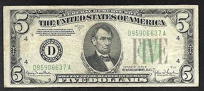 US Federal Reserve Note - $5.00 Cleveland Fed - 1934D - FINE+
