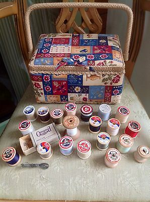 Vintage Cotton Reels Wooden Cotton Reels And Sewing Box Bundle