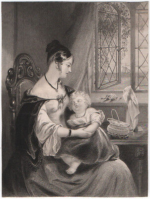 THE CAPTIVE'S WIFE - BEAUTIFUL ORIGINAL 19th CENTURY ANTIQUE ENGRAVING c.1800s