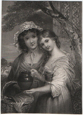 THE SISTERS - BEAUTIFUL ORIGINAL 19th CENTURY ANTIQUE ENGRAVING c.1800s