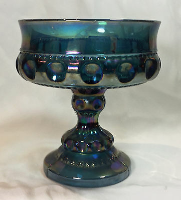Vintage CARNIVAL GLASS IRIDESCENT GOBLET - CANDY DISH RAINBOW BLUE