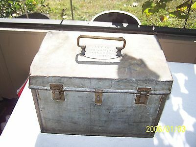 Antique Heavily Installated Metal Ice Box Used For Transport