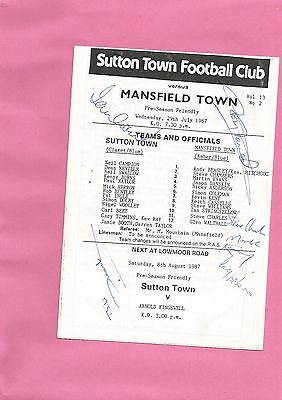 Signed Friendly Sutton Town v Mansfield Town 1987 VGC