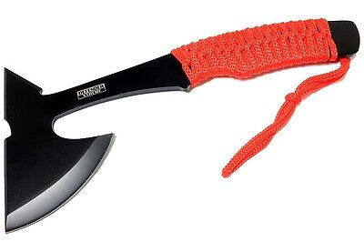 "Defender Xtreme 9""Full Tang Hunting Axe Stainless Steel Red Nylon Handle Sheath"