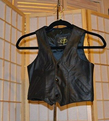 Child's Black Leather Vest Size 12 Made in Mexico