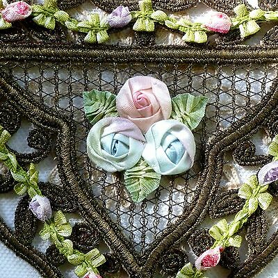 Antique Metal Cord Applique with Silk Ribbon Work Roses
