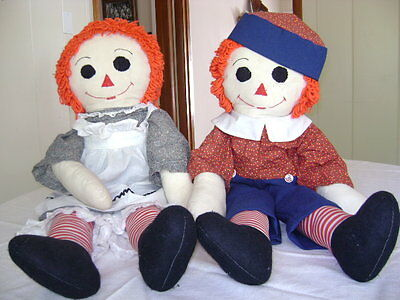 "Vintage 36"" Raggedy Ann & Andy Dolls  Collectable Handmade!"