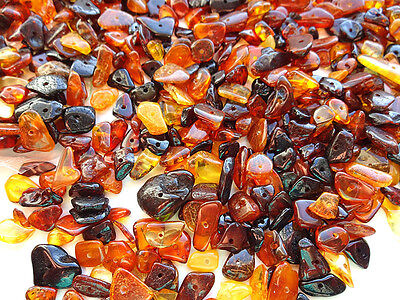 Holed Natural Polished  Baltic Amber Loose beads about 170 pcs (20gr)