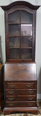 Vintage Ethan Allen Drop Front Secretary Desk with Glass Cabinet- Knotty Pine
