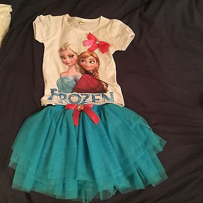 Frozen Outfit Top Skirt Tutu Age 6-7 BNWT Uk Seller