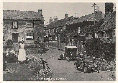 LOVELY JUDGES REPRO POSTCARD - AMBERLEY - SUSSEX C.1925 with FORD MODEL T VAN