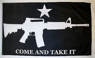 Come And Take It Black Rifle Flag 3' x 5' Gun Rights Tea Party USA Banner