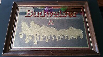 Vintage Budweiser King of Beers Mirror w/Gold Clydesdales Dated 1988