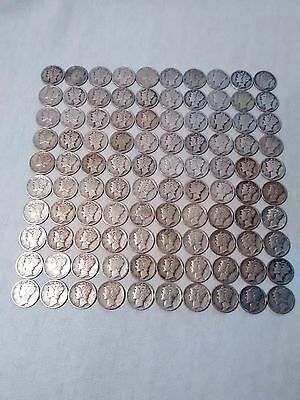 Lot of 100 Mercury silver dimes mixed dates and mints Free shipping!