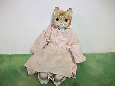 """Vintage  Porcelain Head & Feet   12"""" High  Cat Doll  with Stand."""