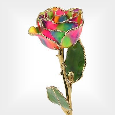 24k Gold Dipped Rose: 11'' Love's On Fire Rose (Free Anniversary Gift Box)