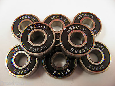 8 x ABEC 11 SCOOTER BEARINGS *NEW* BLACK SHIELDS