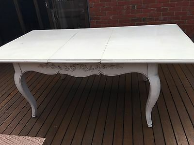 French Provincial White Dining Table Antiqued Design