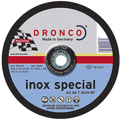 """5 x DRONCO 230 x 1.9 x 22.2 mm Cutting Discs for stainless steel - 9"""" Inox"""