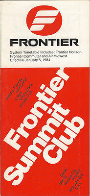 Frontier Airlines system timetable 1/5/84 (Buy 2 get 1 free)