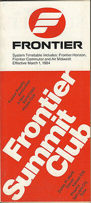 Frontier Airlines system timetable 3/1/84 (Buy 2 get 1 free)