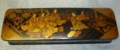 Outstanding Antique Japanese Hand Painted Lacquer Box