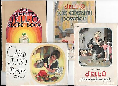4 vintage 1922-1929 Jell-o + ice cream powder recipe booklets & advertisments