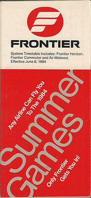 Frontier Airlines system timetable 6/8/84 (Buy 2 get 1 free)
